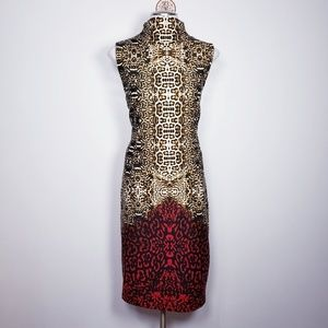 Venus mock neck leopard print ombre midi dress